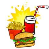 Hamburger, aardappels en drankvector Stock Afbeelding