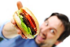 Hamburger, alimenti a rapida preparazione, preparanti Fotografia Stock Libera da Diritti