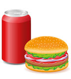 Hamburger and aluminum cans with soda Stock Photos