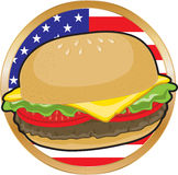 Hamburger American Flag. A juicy hamburger with the American Flag in the background Royalty Free Stock Photo