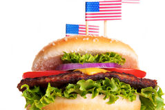 Hamburger with American Flags Stock Images