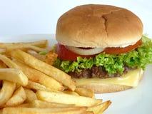 Hamburger & patate fritte Fotografia Stock Libera da Diritti