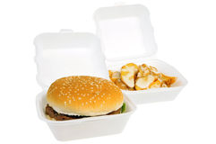 Hamburger And Baked Potatoes Royalty Free Stock Photos