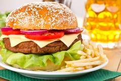 Hamburger And Beer Stock Photo