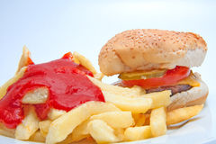 Hamburger And French Fries Stock Photos