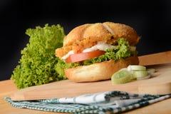 Hamburger appétissant avec le poireau Image libre de droits
