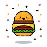 Hamburger appétissant de bande dessinée heureuse et mignonne Photo stock