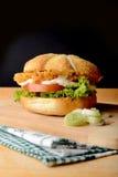 Hamburger appetitoso con il porro Fotografia Stock