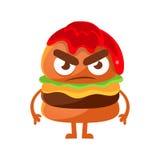 Hamburger arrabbiato con ketchup Illustrazione sveglia di vettore del carattere di emoji degli alimenti a rapida preparazione del illustrazione vettoriale