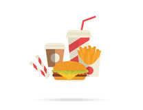 Hamburger and attributes Stock Images