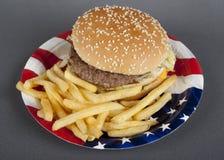 Hamburger auf Papierplatten-Amerika-Art Lizenzfreie Stockfotografie