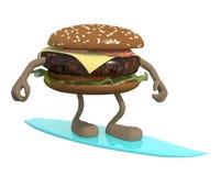 Hamburger avec des bras et des jambes surfant Photo libre de droits