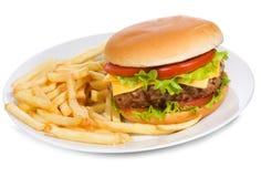 Hamburger avec des fritures Image stock