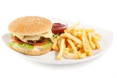 Hamburger avec des fritures Photographie stock libre de droits