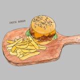 Hamburger avec des fritures Croquis tiré par la main Photographie stock libre de droits