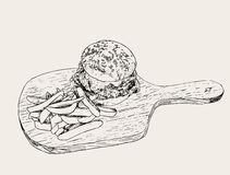 Hamburger avec des fritures Vecteur tiré par la main de croquis Photographie stock libre de droits
