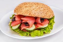 Hamburger avec des saumons Photographie stock