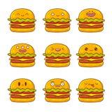 Hamburger avec différentes émotions Photo libre de droits