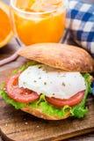 Hamburger avec l'oeuf et la tomate pouched Images stock