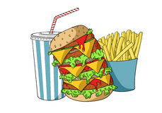 Hamburger avec la soude et les pommes frites Photos libres de droits