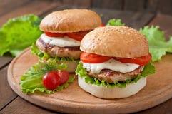 Hamburger avec le poulet Photo libre de droits