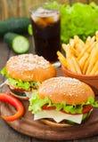 Hamburger avec les fritures et le kola Photographie stock libre de droits