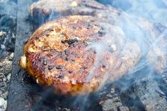 Hamburger on barbecue royalty free stock photos