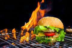 Hamburger on barbecue Royalty Free Stock Images