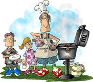 Hamburger BBQ. This illustration that I created depicts a man BBQing hamburgers for 2 children Royalty Free Stock Image