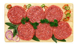 Hamburger of beef. On wooden board Royalty Free Stock Images