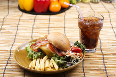 Hamburger beef bacon with Cola drink Stock Photo