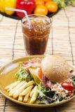 Hamburger beef bacon with Cola drink Royalty Free Stock Images