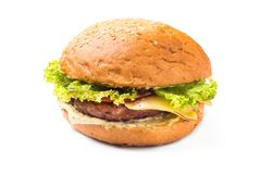 Hamburger with beef and cheese isolated. On white background Stock Photo