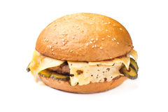 Hamburger with beef and cheese isolated. On white background Stock Photos