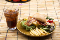 Hamburger beef with Cola drink Royalty Free Stock Images