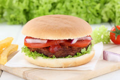 Hamburger beef onion tomatoes lettuce Royalty Free Stock Images