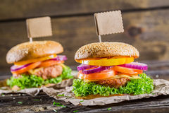 Hamburger with beef, vegetables fresh herbs Stock Photography