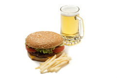 Hamburger with beer Royalty Free Stock Photos