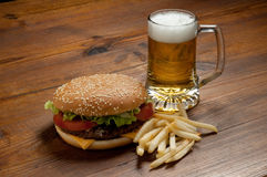 Hamburger with beer Royalty Free Stock Image