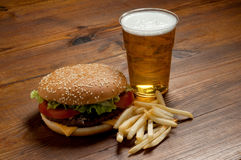 Hamburger with beer Stock Photos