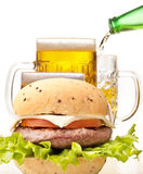 Hamburger with beer Royalty Free Stock Images