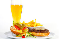 Hamburger and beer Royalty Free Stock Photos