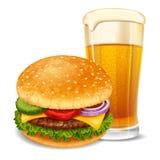 Hamburger and beer Stock Photography