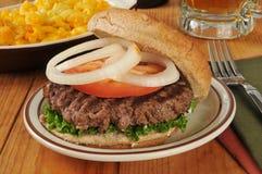 Hamburger and beer Royalty Free Stock Images
