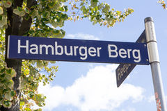 Hamburger Berg Street Sign. Street sign of famous red light and amusement district street Hamburger Berg in the Sankt Pauli part of Hamburg, Germany Stock Image