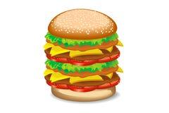 Hamburger. Big hamburger on white background Stock Photography