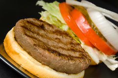 Hamburger on Black Stock Image