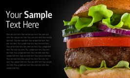 Hamburger on black background Royalty Free Stock Image