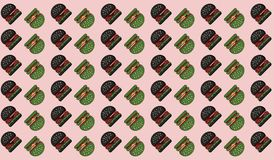 Hamburger black green Pattern background on Pink. royalty free illustration