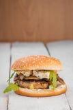 Hamburger with blue cheese Stock Photos